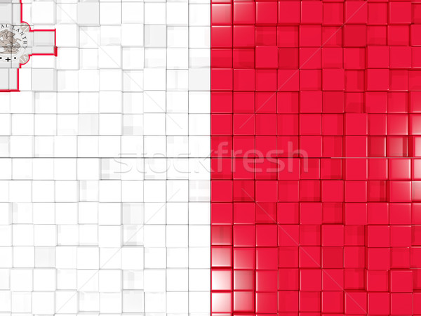 Background with square parts. Flag of malta. 3D illustration Stock photo © MikhailMishchenko
