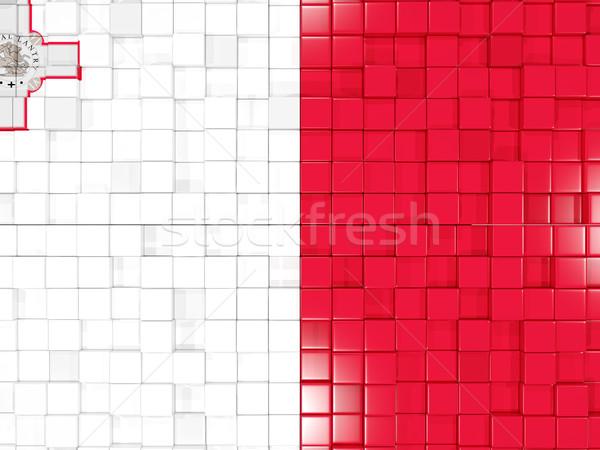 Vierkante onderdelen vlag Malta 3d illustration mozaiek Stockfoto © MikhailMishchenko