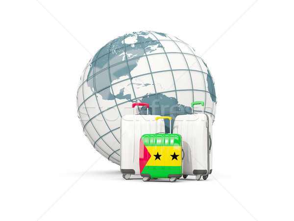 Luggage with flag of sao tome and principe. Three bags in front  Stock photo © MikhailMishchenko