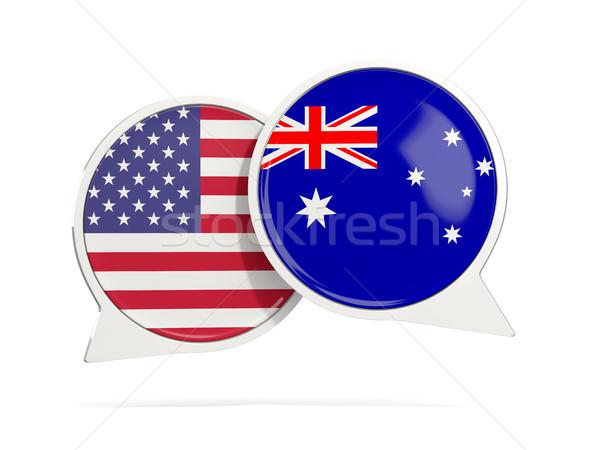 Сток-фото: чате · пузырьки · США · Австралия · изолированный · белый