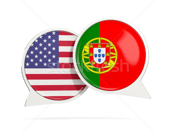 Chat bubbles of USA and Portugal isolated on white Stock photo © MikhailMishchenko
