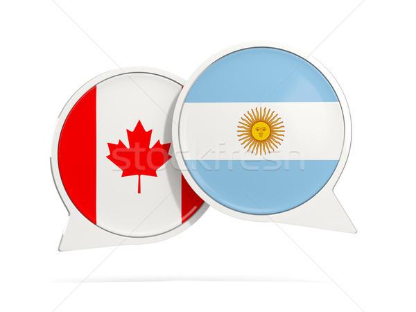 チャット 泡 カナダ アルゼンチン 孤立した 白 ストックフォト © MikhailMishchenko
