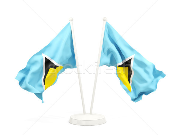 Two waving flags of saint lucia Stock photo © MikhailMishchenko