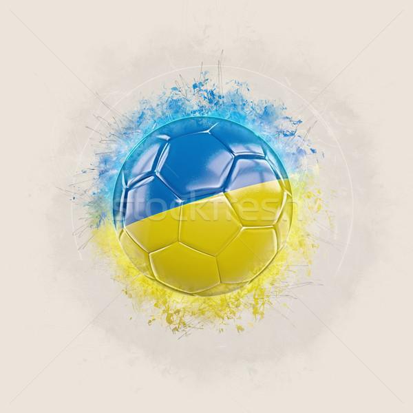 Grunge voetbal vlag Oekraïne 3d illustration ontwerp Stockfoto © MikhailMishchenko