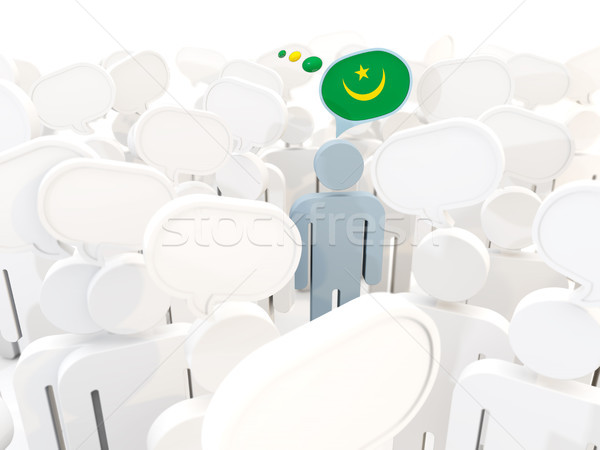 Man with flag of mauritania in a crowd Stock photo © MikhailMishchenko