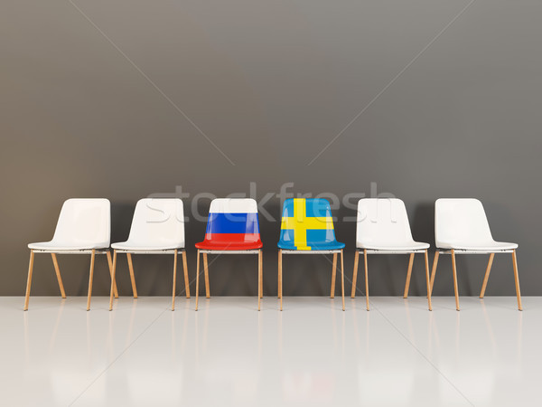 Chairs with flag of Russia and sweden Stock photo © MikhailMishchenko
