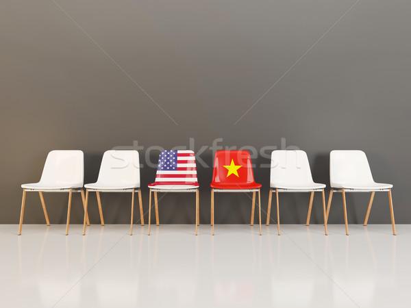 Chaises pavillon USA Viêt-Nam rangée 3d illustration Photo stock © MikhailMishchenko