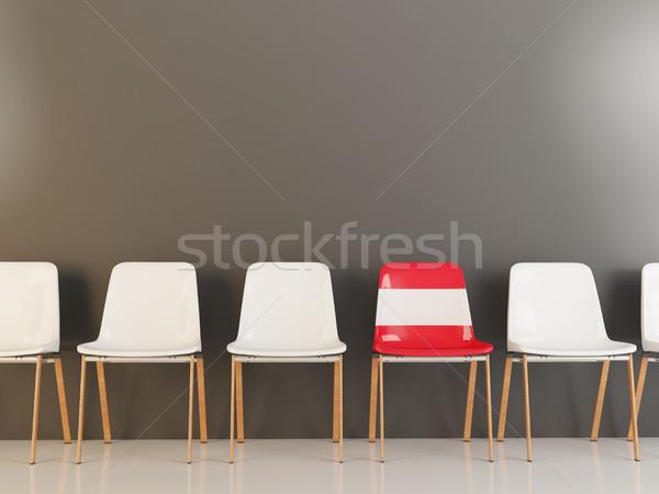 Président pavillon Autriche rangée blanche chaises Photo stock © MikhailMishchenko