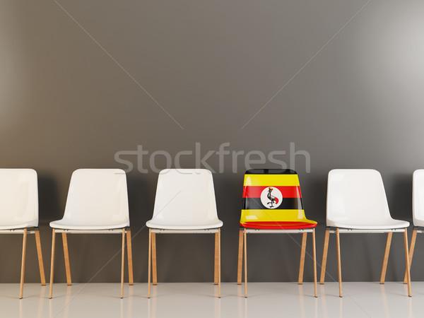 Sedia bandiera Uganda fila bianco sedie Foto d'archivio © MikhailMishchenko