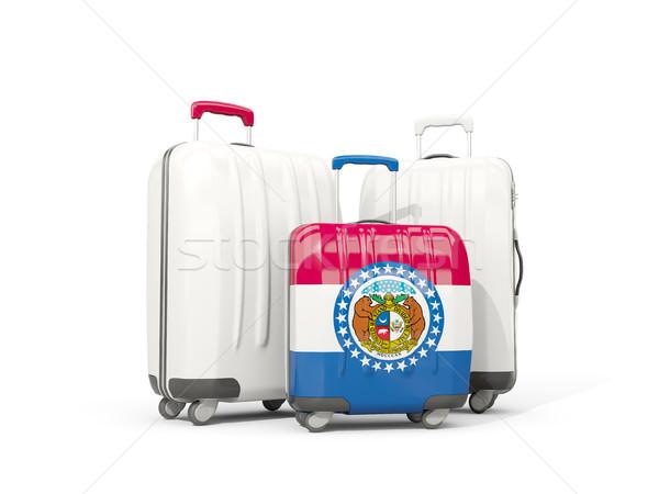 Luggage with flag of missouri. Three bags with united states loc Stock photo © MikhailMishchenko