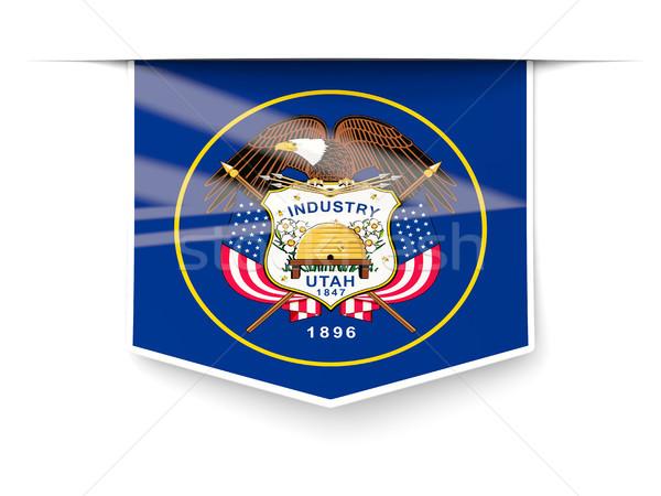 Utah vlag vierkante label schaduw Verenigde Staten Stockfoto © MikhailMishchenko