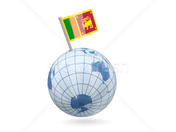 Wereldbol vlag Sri Lanka Blauw geïsoleerd witte Stockfoto © MikhailMishchenko