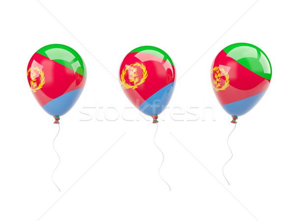 Powietrza balony banderą Erytrea odizolowany biały Zdjęcia stock © MikhailMishchenko