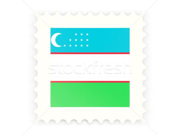 Postabélyeg ikon Üzbegisztán izolált fehér felirat Stock fotó © MikhailMishchenko