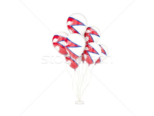 Vuelo globos bandera Nepal aislado blanco Foto stock © MikhailMishchenko