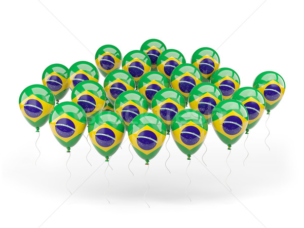 Balony banderą Brazylia odizolowany biały podróży Zdjęcia stock © MikhailMishchenko
