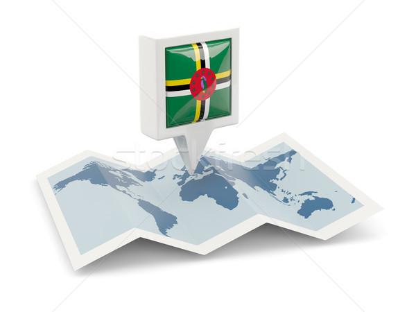 Vierkante pin vlag Dominica kaart reizen Stockfoto © MikhailMishchenko