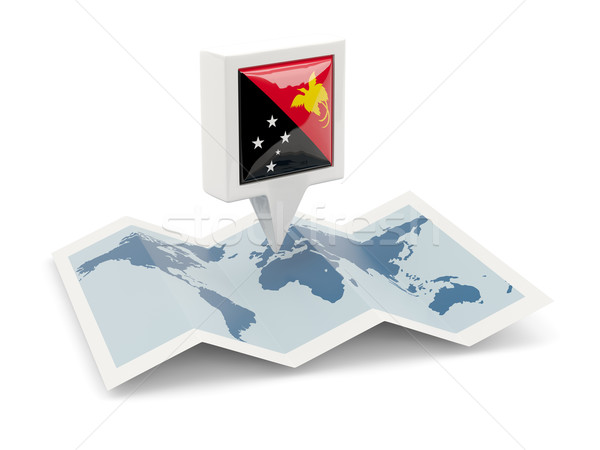 квадратный Pin флаг Папуа-Новая Гвинея карта путешествия Сток-фото © MikhailMishchenko