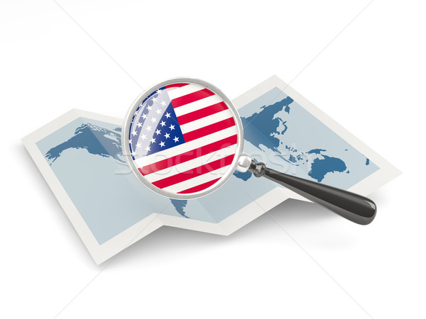 Nagyított zászló Egyesült Államok Amerika térkép izolált Stock fotó © MikhailMishchenko