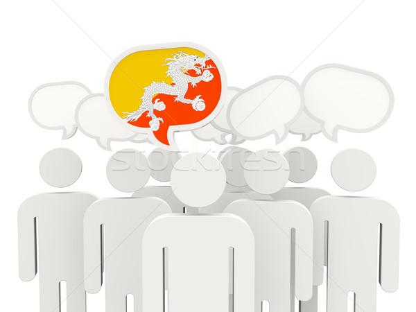 Mensen vlag Bhutan geïsoleerd witte vergadering Stockfoto © MikhailMishchenko