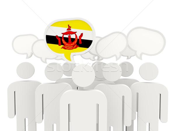 люди флаг Бруней изолированный белый заседание Сток-фото © MikhailMishchenko