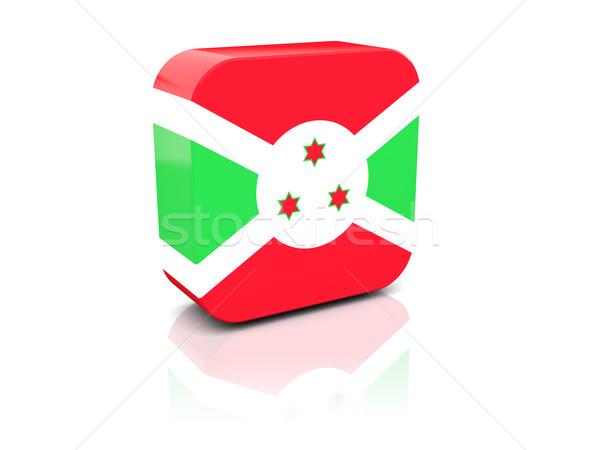 Praça ícone bandeira Burundi reflexão branco Foto stock © MikhailMishchenko
