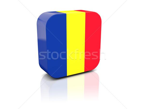 Square icon with flag of romania Stock photo © MikhailMishchenko