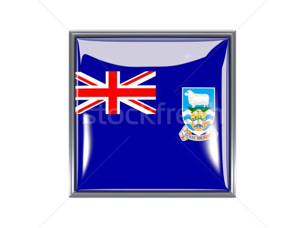 Tér ikon zászló Falkland-szigetek fém keret Stock fotó © MikhailMishchenko