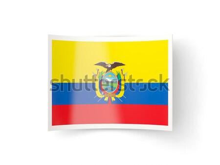 Kare etiket bayrak Ekvador yalıtılmış beyaz Stok fotoğraf © MikhailMishchenko