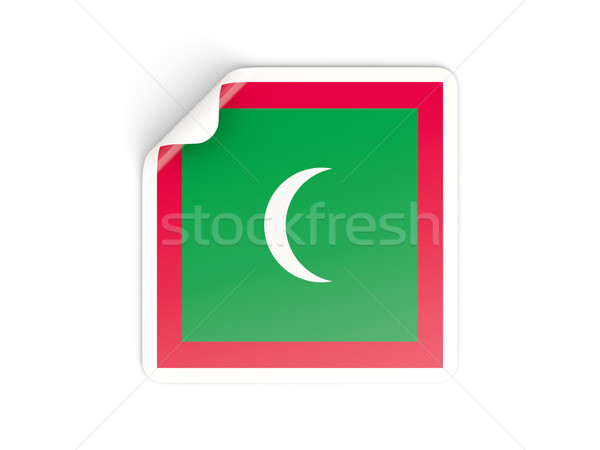 квадратный наклейку флаг Мальдивы изолированный белый Сток-фото © MikhailMishchenko