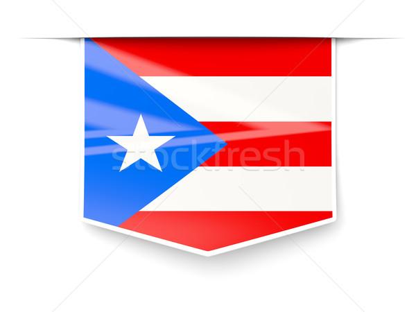 Vierkante label vlag Puerto Rico geïsoleerd witte Stockfoto © MikhailMishchenko