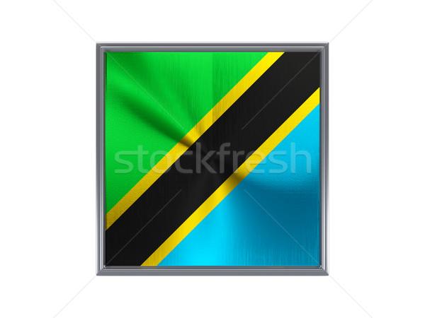 Kare Metal düğme bayrak Tanzanya yalıtılmış Stok fotoğraf © MikhailMishchenko