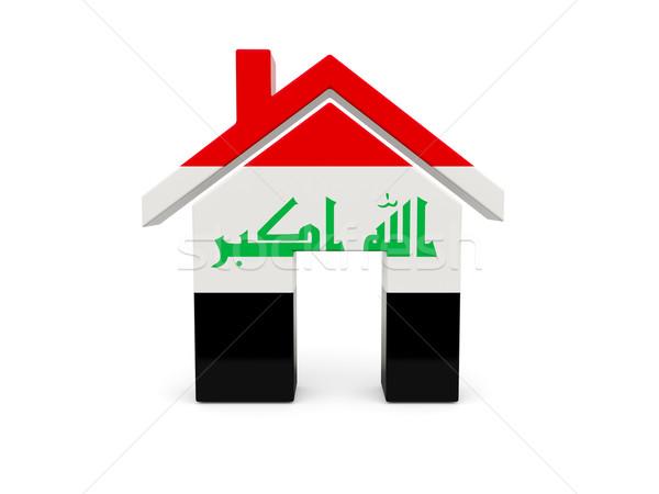 Casa bandeira Iraque isolado branco pesquisar Foto stock © MikhailMishchenko