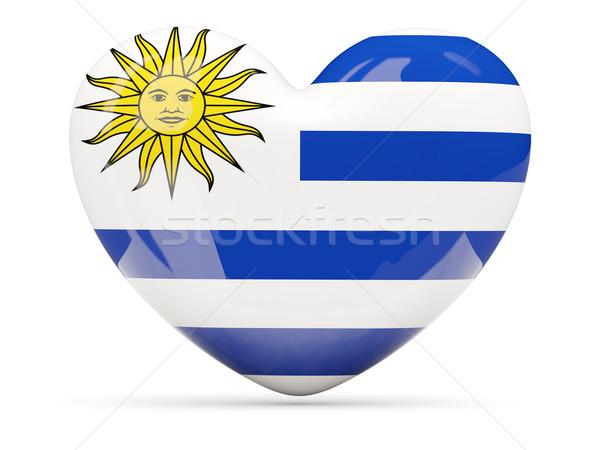 Coração ícone bandeira Uruguai isolado Foto stock © MikhailMishchenko