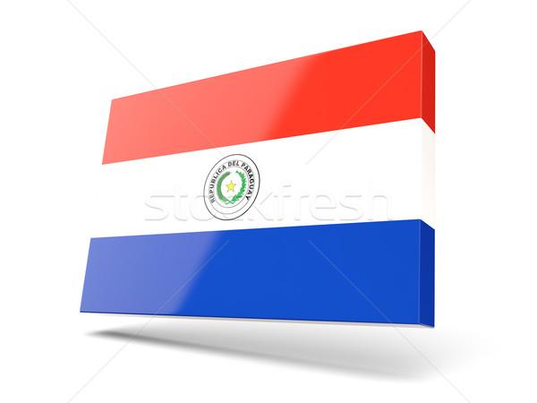 Placu ikona banderą Paragwaj odizolowany biały Zdjęcia stock © MikhailMishchenko