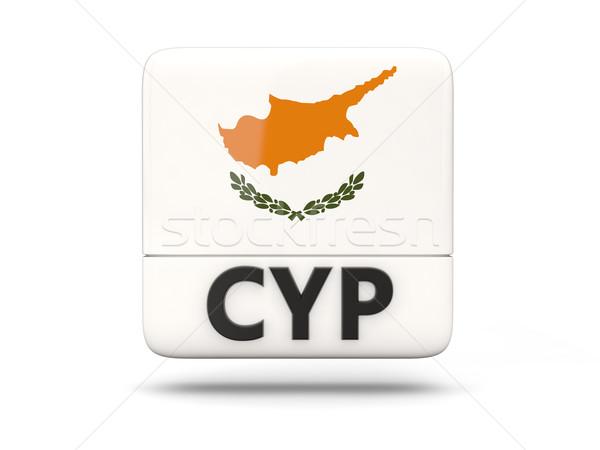 Vierkante icon vlag Cyprus iso code Stockfoto © MikhailMishchenko