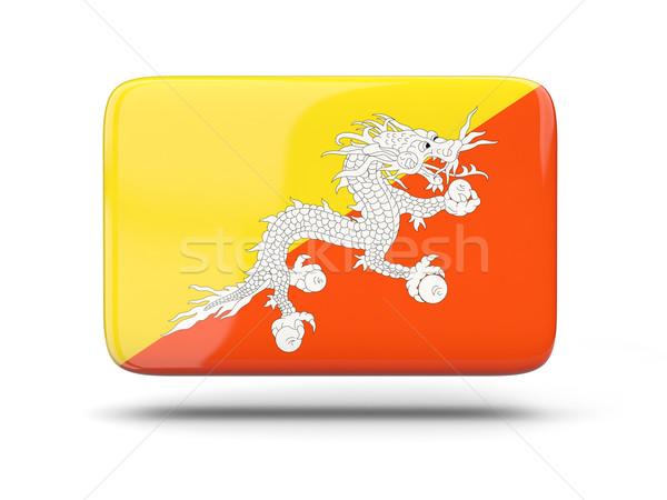 Praça ícone bandeira Butão sombra assinar Foto stock © MikhailMishchenko