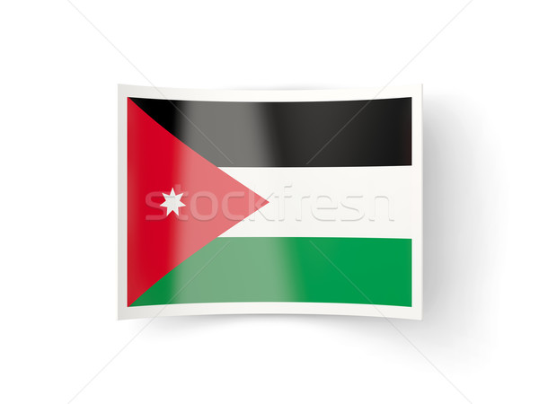 ícone bandeira Jordânia isolado branco país Foto stock © MikhailMishchenko