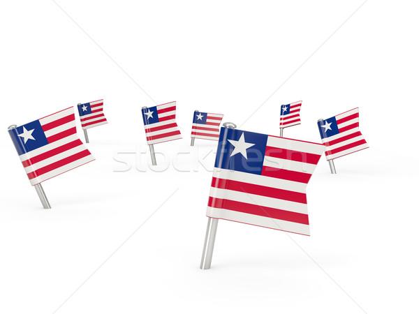 Praça bandeira Libéria isolado branco país Foto stock © MikhailMishchenko