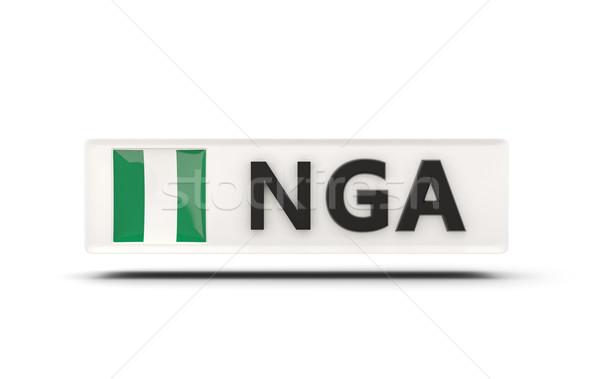 Placu ikona banderą Nigeria iso kodu Zdjęcia stock © MikhailMishchenko