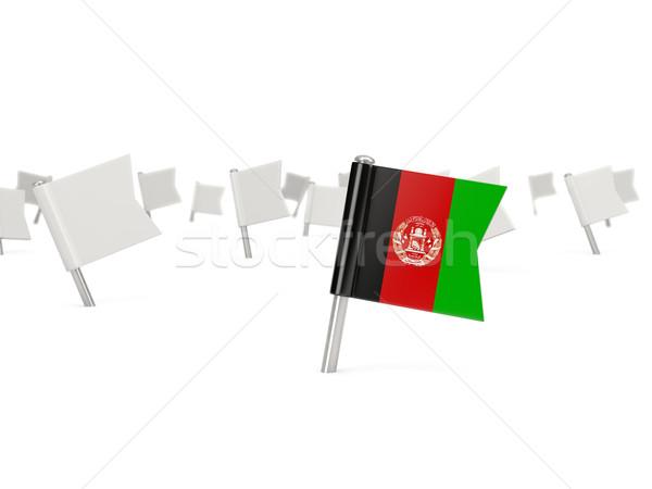Kare pin bayrak Afganistan yalıtılmış beyaz Stok fotoğraf © MikhailMishchenko