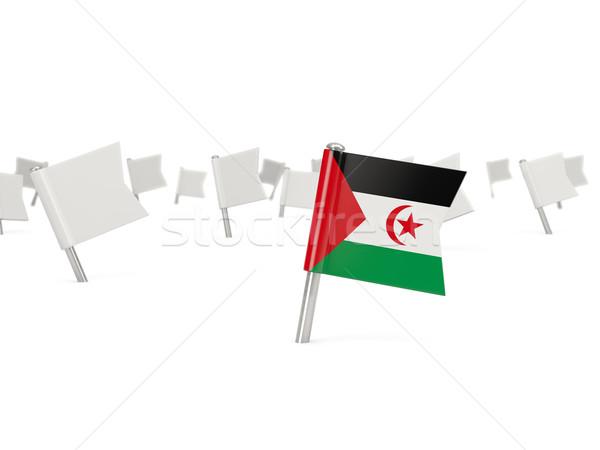 Vierkante pin vlag westerse sahara geïsoleerd Stockfoto © MikhailMishchenko
