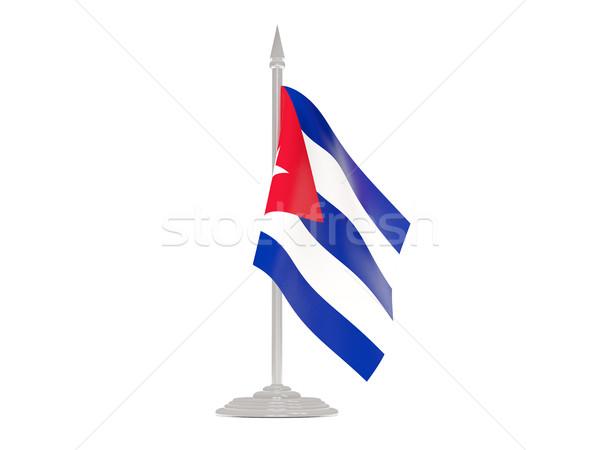 Banderą Kuba maszt 3d odizolowany biały Zdjęcia stock © MikhailMishchenko