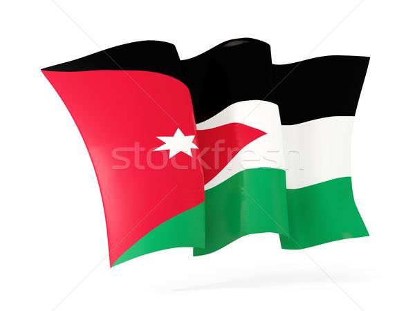 Foto stock: Bandeira · Jordânia · ilustração · 3d · isolado · branco