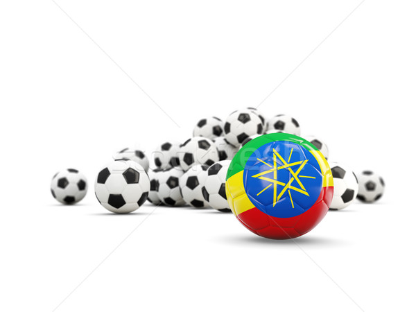 Football with flag of ethiopia isolated on white Stock photo © MikhailMishchenko