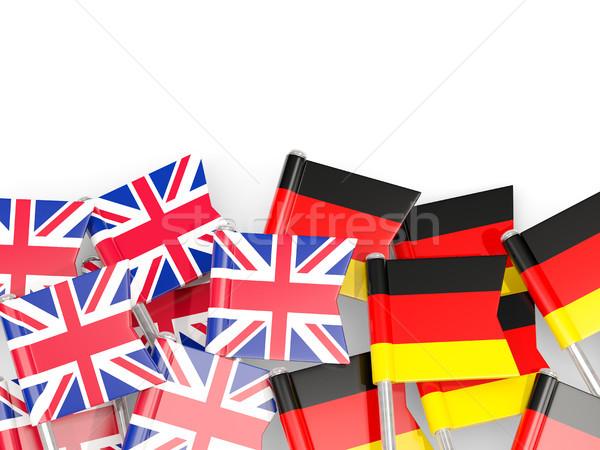 Flag pins of United Kingdom and Germany isolated on white Stock photo © MikhailMishchenko