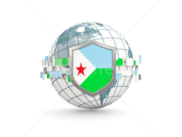 Globe and shield with flag of djibouti isolated on white Stock photo © MikhailMishchenko