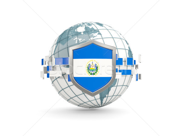 Globe and shield with flag of el salvador isolated on white Stock photo © MikhailMishchenko