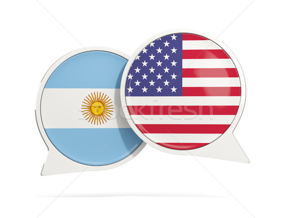 Chat bubbles of Argentina and USA isolated on white Stock photo © MikhailMishchenko