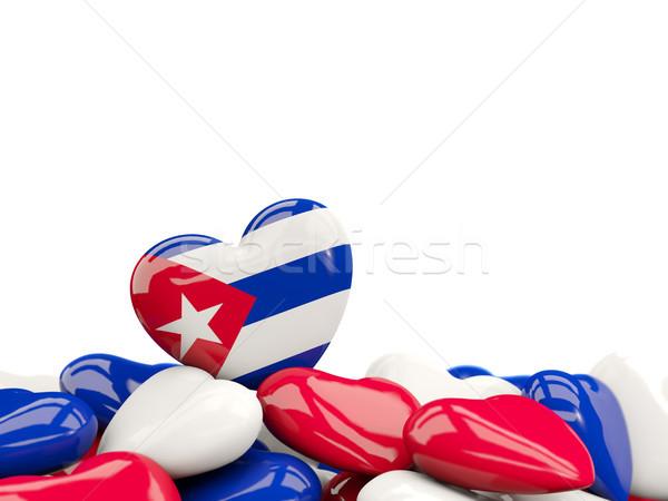 Coração bandeira Cuba topo corações isolado Foto stock © MikhailMishchenko